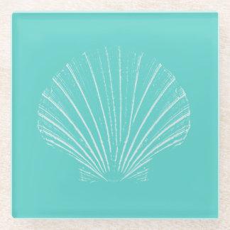 Aqua Blue with White Sea Shell Glass Coaster