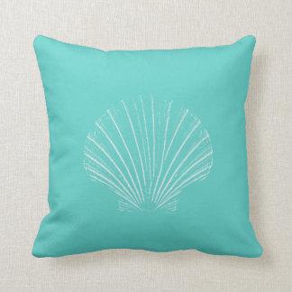 Aqua Blue with White Sea Shell Throw Pillow