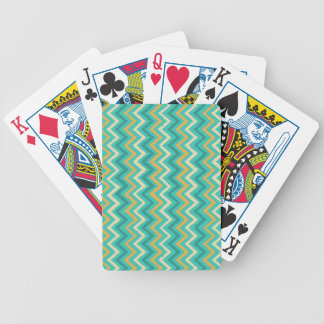 Aqua Blue, Yellow and Cream Chevron Pattern Bicycle Playing Cards