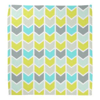 Aqua Blue Yellow Gray Geometric Chevron Pattern Bandana