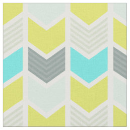 Aqua Blue Yellow Gray Geometric Chevron Pattern Fabric