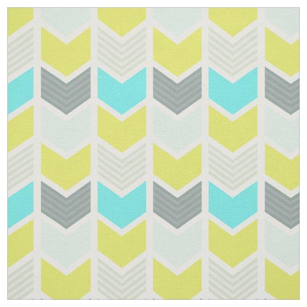 Aqua Blue Yellow Gray Geometric Chevron Pattern Fabric