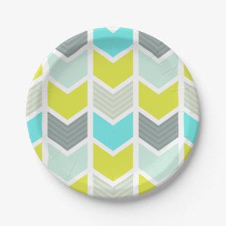 Aqua Blue Yellow Gray Geometric Chevron Pattern Paper Plate  sc 1 st  Zazzle & Gray And Yellow Chevron Plates | Zazzle