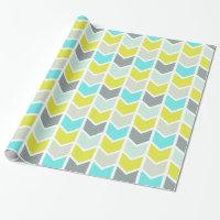 Aqua Blue Yellow Gray Geometric Chevron Pattern Wrapping Paper