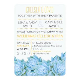 Aqua Blue & Yellow Succulent Modern Chic Wedding Card