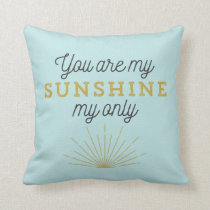 Aqua Blue You Are My Sunshine Retro Throw Pillow