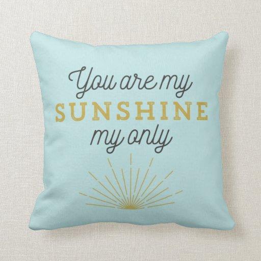 Aqua Blue You Are My Sunshine Retro Throw Pillows