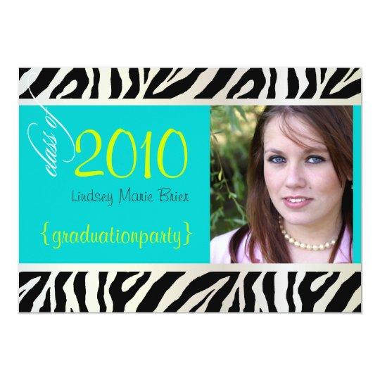 Aqua Blue Zebra Graduation Photo Invitation