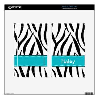 Aqua Blue Zebra Print Kindle Fire Skin