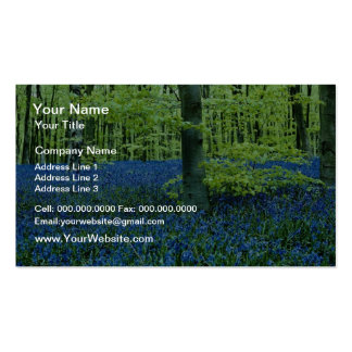 Aqua Bluebell Woods flowers Double-Sided Standard Business Cards (Pack Of 100)