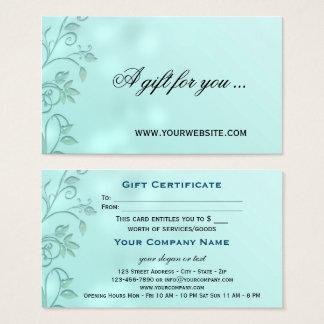 Aqua Bokeh Floral Swirl Gift Certificate Template