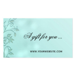 Aqua Bokeh Floral Swirl Gift Certificate Template Double-Sided Standard Business Cards (Pack Of 100)