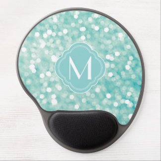 Aqua Bokeh Lights Glitter Sparkles and Monogram Gel Mouse Pad