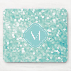 Aqua Bokeh Lights Glitter Sparkles And Monogram Mouse Pad at Zazzle