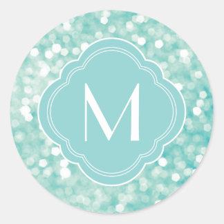 Aqua Bokeh Lights Glitter Sparkles and Monogram Round Sticker