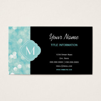 Aqua Bokeh Lights Glitter Sparkles Business Card