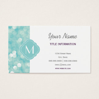 Aqua Bokeh Lights Glitter Sparkles Business Card