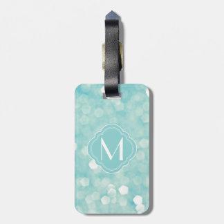 Aqua Bokeh Lights Glitter Sparkles Bag Tag