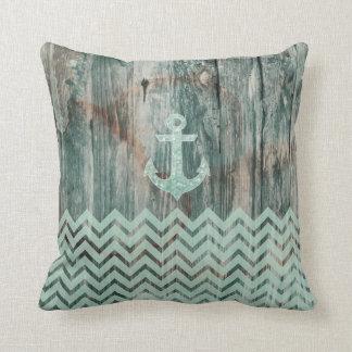 Aqua Bokeh Nautical Anchor on Wood Throw Pillow