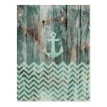 Aqua Bokeh Nautical Anchor on Wood Post Card