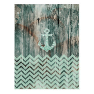 Aqua Bokeh Nautical Anchor on Wood Postcard