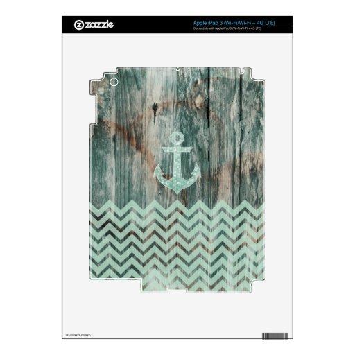 Aqua Bokeh Nautical Anchor on Wood iPad 3 Decals