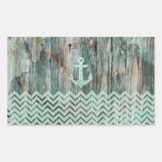 Aqua Bokeh Nautical Anchor on Wood Rectangular Sticker