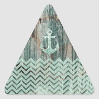 Aqua Bokeh Nautical Anchor on Wood Triangle Sticker