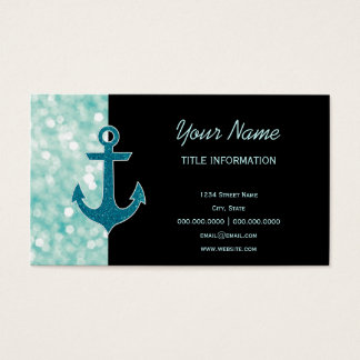 Aqua Bokeh Nautical Glitter Anchor Business Card