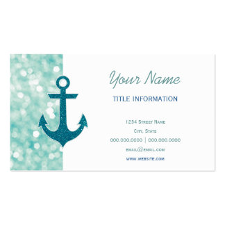 Aqua Bokeh Nautical Glitter Anchor Double-Sided Standard Business Cards (Pack Of 100)