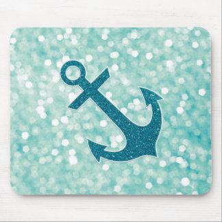 Aqua Bokeh Nautical Glitter Anchor Mouse Pad