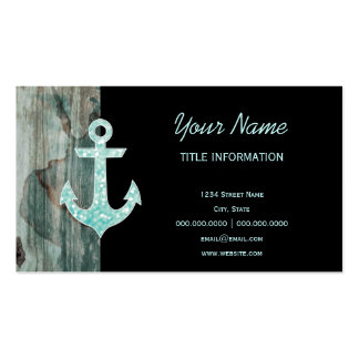 Aqua Bokeh Nautical Glitter Anchor on Wood Business Cards