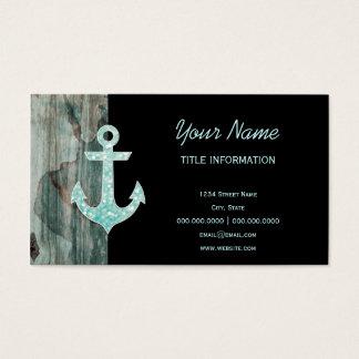 Aqua Bokeh Nautical Glitter Anchor on Wood Business Card