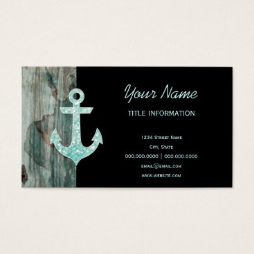 Beach Themed Aqua Bokeh Nautical Glitter Anchor on Wood Business Card