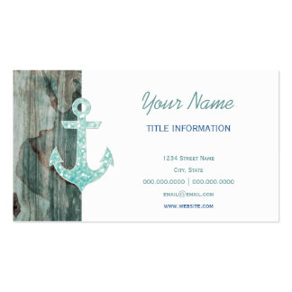 Aqua Bokeh Nautical Glitter Anchor on Wood Double-Sided Standard Business Cards (Pack Of 100)