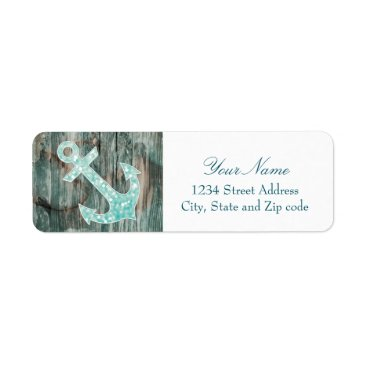 Beach Themed Aqua Bokeh Nautical Glitter Anchor on Wood Label