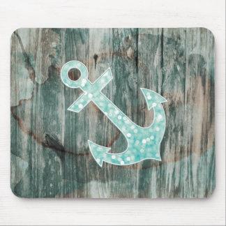Aqua Bokeh Nautical Glitter Anchor on Wood Mouse Pad