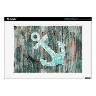 "Aqua Bokeh Nautical Glitter Anchor on Wood Decal For 15"" Laptop"