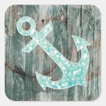 Aqua Bokeh Nautical Glitter Anchor on Wood Square Sticker