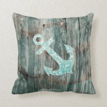 Aqua Bokeh Nautical Glitter Anchor on Wood Throw Pillow