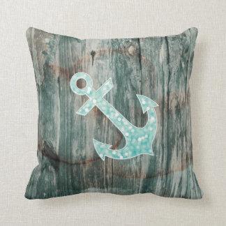 Aqua Bokeh Nautical Glitter Anchor on Wood Throw Pillow