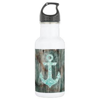 Aqua Bokeh Nautical Glitter Anchor on Wood Water Bottle