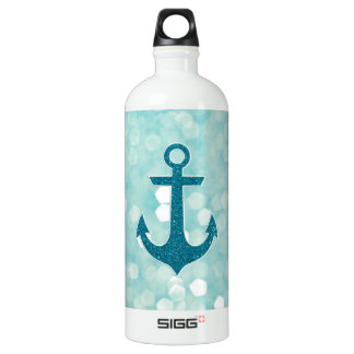 Aqua Bokeh Nautical Glitter Anchor Water Bottle