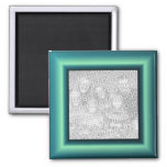 Aqua Border 2 Inch Square Magnet