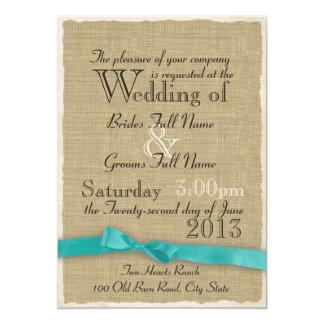 Aqua Bow and Burlap Wedding Lite 5x7 Paper Invitation Card
