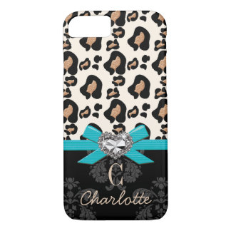 Aqua Bow Heart Shaped Faux Bling Leopard Print iPhone 7 Case