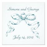 Aqua Bow Swag Wedding Invitation