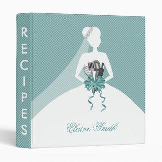 Aqua Bridal shower Recipe Folder 3 Ring Binder