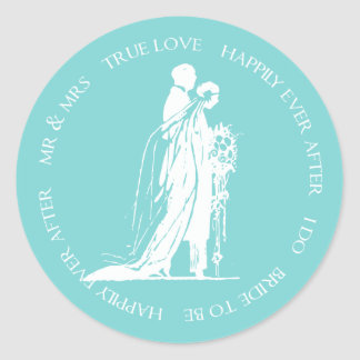 Aqua Bride and Groom Happily Ever After Sticker