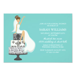 Aqua Bride on Wedding Cake Card